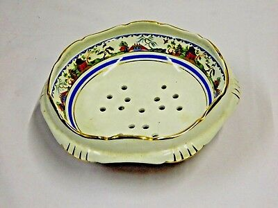 Vintage Gorgeouse Vegies Strainer Bowl Footed Gilt Decorated Coronation Pottery