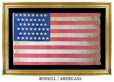 Framed 45 Star Antique US United States Flag - Patriotic Folk Art Americana