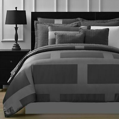 Frame Jacquard Microfiber 5-piece Full Queen & King Comforter Set in Gray