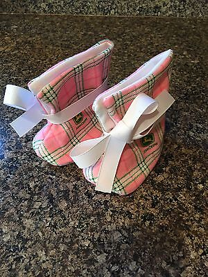 Baby Girl Pink John Deere Booties With White Ribbon Plaid Green