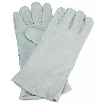 "14"" Welding Gloves Gray Leather Cowhide Protect Welder Hands"