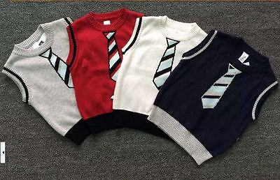 2017 New Baby Little Boys Toddler Knit Sweater Vest Tops Clothes 2 3 4 5Year