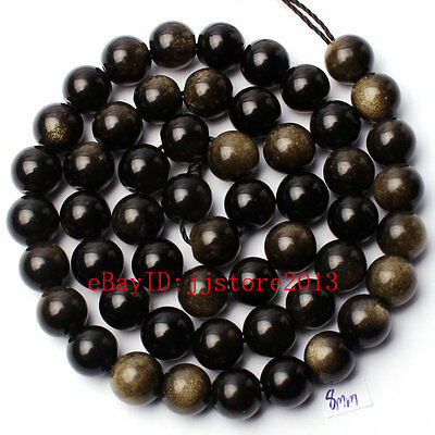 """8Mm Pretty Natural Gold Obsidian Round Shape Diy Gemstone Loose Beads Strand 15"""""""