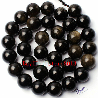 """12Mm Pretty Natural Gold Obsidian Round Shape Gemstone Loose Beads Strand 15"""""""