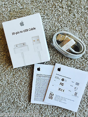 Apple Genuine Original 30 Pin Data Cable ChargeriPhone 4 4S iPod iPad 2 3 RETAIL