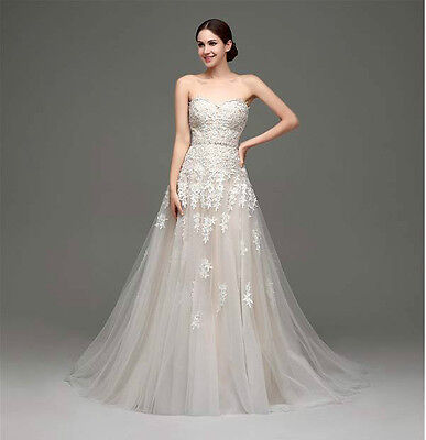 Stock New White/Ivory lace Wedding Dress Bridal Gown size 6 8 10 12 14 16