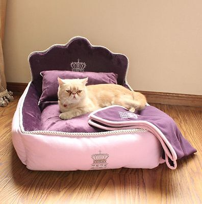 Princess Luxurious Pet Dog Cat Sofa Bed House Kitty Puppy Kennel+Pillow Blanket