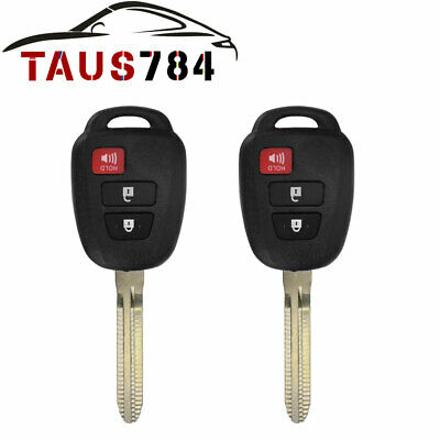 2Pcs Uncut Replacement Key 4 Btn Fob Keyless Entry Remote Transmitter for Fobik