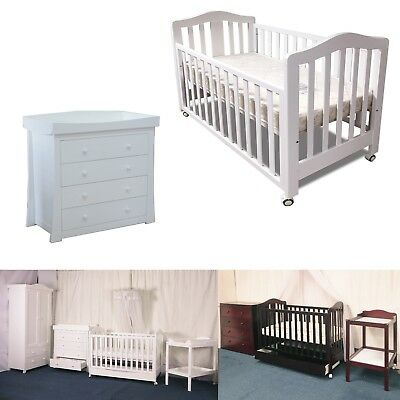 NEW CHILDCARE BRISTOL COT CRIB BABY WITH INNERSPRIN MATTRESS WHITE baby crib bed