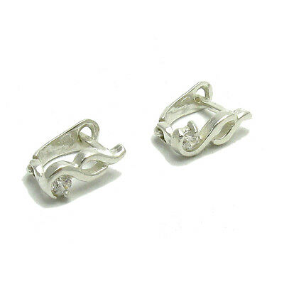Small Sterling Silver Earrings Solid 925 With 3Mm Cz E000011 Empress