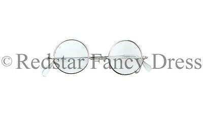 Silver Framed Specs Glasses Santa Claus Spectacles Grandad Judge Granny