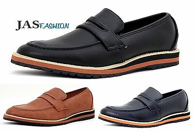 Mens Slip On Shoes Loafers Smart Moccasin Designer Leather Work Casual Size NEW
