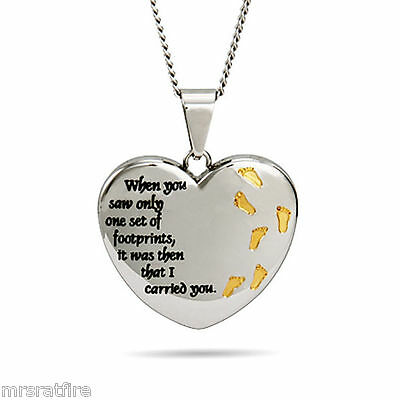 Footprints Prayer Pendants, Charm, Necklaces, Footprints In The Sand Heart Shape