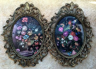 Set Of Flower Pictures Ornate Brass Frame Oval Circular Vintage Decor Pair Metal