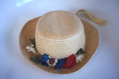 Girls Vintage Straw? Hat With Faux Floral Trim