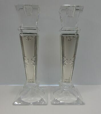 Tall Italian Silver Plated & Crystal Shiny Chased Design Square Candlesticks
