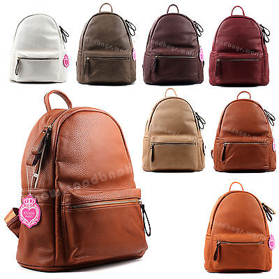 Ladies Women's Large Plain Faux Leather School College Backpack Rucksack