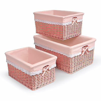 Badger Basket Coral Nursery Baskets Set Of 3 Organize Baby Items Storage Toys