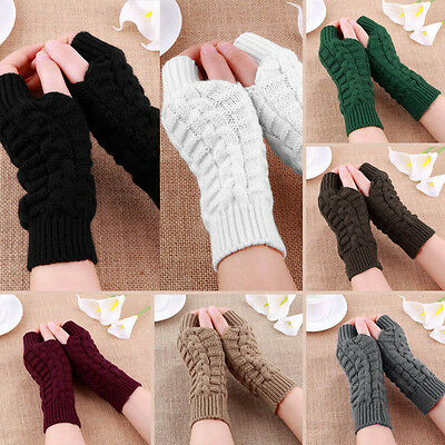 Girl Lady Knitted Fingerless Winter Gloves Unisex Soft Warm Mitten 7 Colors