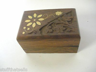 Wood Engraved  Box - Brass Flower - Petite - Handcrafted