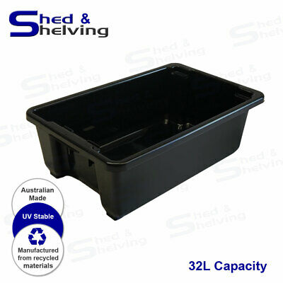 Heavy Duty 32L Black Plastic Tub Stack and Nest Storage Crate Box