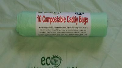 25L Compostable Biodegradable Kerbside Food Waste Caddy Bin Liner Bags x 10 Bags