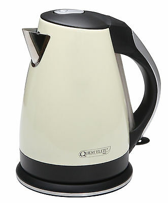 Quest Low Wattage 1.7 Litre Cream Stainless Steel Kettle - Camping & Caravan