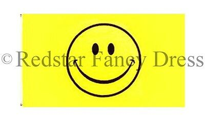 Yellow Smiley Face Festival Flag 5Ft X 3Ft Official High Quality Denier Flags
