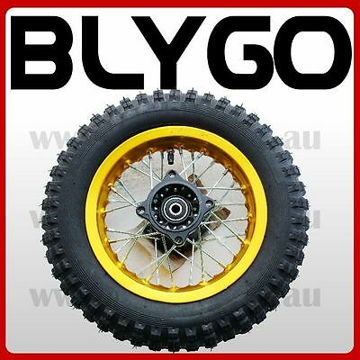 "GOLD 2.50- 10"" Inch Rear Back Wheel Rim+ Knobby Tyre Tire PIT Trail Dirt Bike"