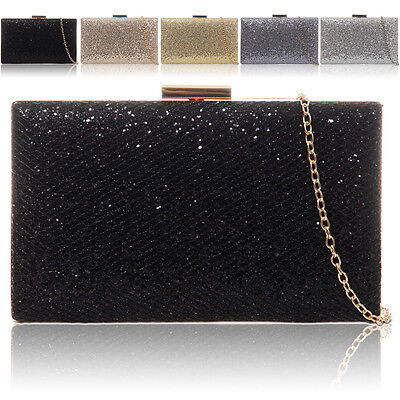 New Glitter Diamante Women Clutch Bag Bridal Designer Ladies Evening Party Prom