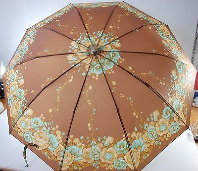 Vintage 80's Accessory Stunning Umbrella Flowers Brown Mint Condition