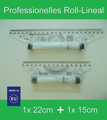 Professionelles Parallel Roll-Lineal, 1x 22cm + 1x 15cm, Kunststoff, NEU