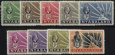 Nyasaland - SG 114-122 - 1934-35 - Definitive Set of 9 - Mounted Mint