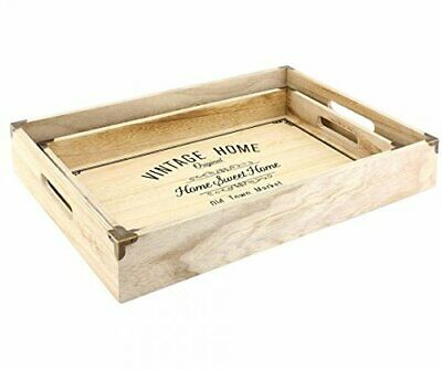 Vintage Style Rustic Set Of Two Wooden Home Sweet Home Kitchen Storage Trays