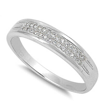 Wedding Cluster Clear CZ Classic Ring New .925 Sterling Silver Band Sizes 5-10