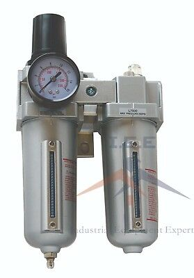"3/4"" Compressed Air Moisture Filter Regulator Oiler Separator Lubricator Combo"
