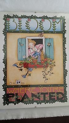 """Mary Engelbreit Framed Poster """"Bloom Where You are Planted"""" 14"""" x 11"""" ME"""
