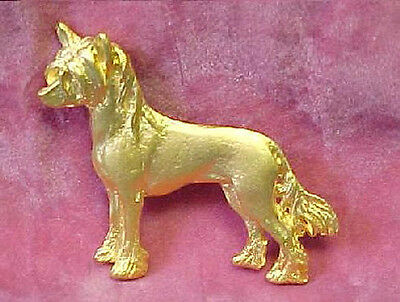 Chema Sotoca 24K Gold Plate Dog Brooch Pin Jewelry NEW Chinese Crested Hairless