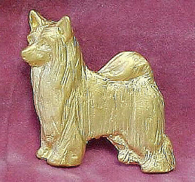 Chema Sotoca 24K Gold Plate Dog Brooch Pin NEW Chinese Crested Powder Puff