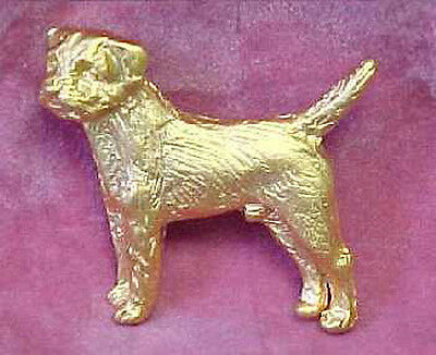 Chema Sotoca 24K Gold Plate Dog Brooch Pin Jewelry NEW Border Terrier