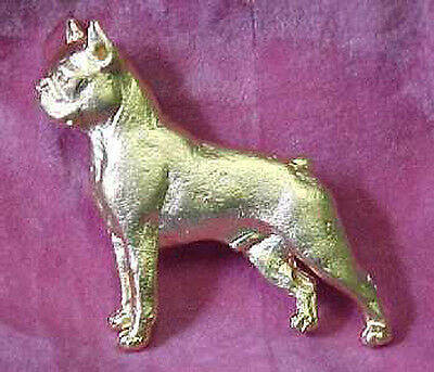 Chema Sotoca 24K Gold Plate Dog Brooch Pin Jewelry NEW Boston Terrier