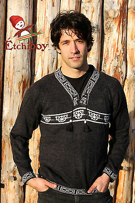 Metis Sweater Etchiboy Red River Cart Charcoal Alpaca Wool Square Shape XS-XL