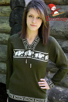 Metis Sweater Etchiboy Bisons Olive Green Alpaca Wool Square Shape XS-XL