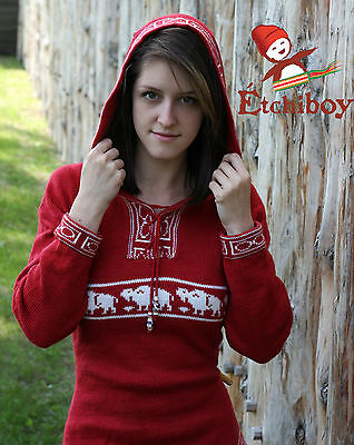 Metis Hooded Sweater Etchiboy Bisons Red Rouge Alpaca Wool Bell Shape XS-XL