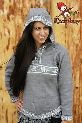 Metis Hooded Sweater Etchiboy Red River Cart Grey Alpaca Wool Bell Shape XS-XL