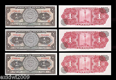 Mexico 1 Peso 1967 + 1969 + 1970 Set of 3 Mint UNC Banknotes 3 PCS