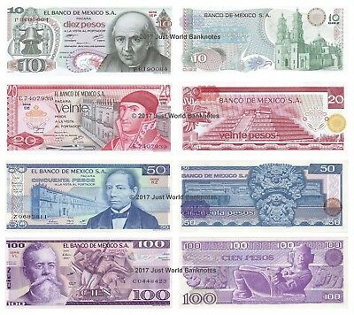 Mexico 10 + 20 + 50 + 100 Pesos Set of 4 Mint UNC Uncirculated Banknotes 4 PCS