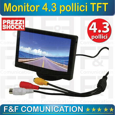 Monitor Auto Retromarcia Lcd Led 4.3 Pollici Nuovo Colori Barre Distanza