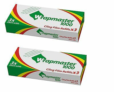 """Wrapmaster 1000 Cling Film Refill 12"""" Pack of 6 rolls 30cm x 100m Catering Baco"""