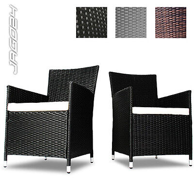 Garden Furniture Chair Set of 2 Poly Rattan Lounge Outdoor Patio Choice Colour